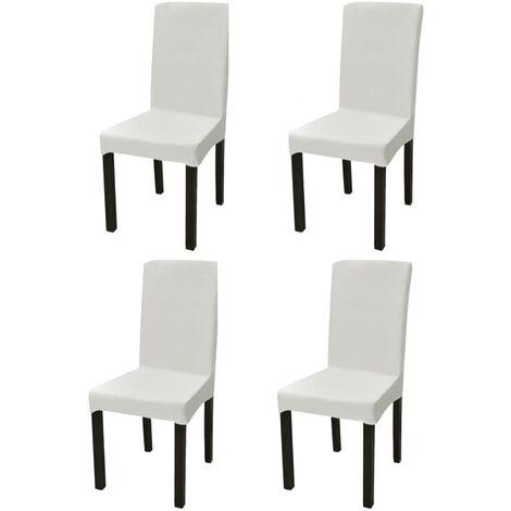 Gerader Stretch Stuhlbezug 4 Stück Creme