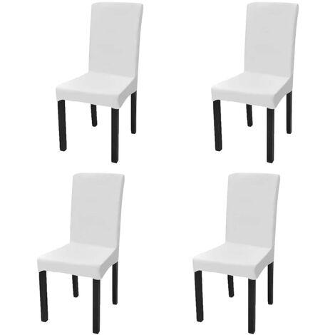 Gerader Stretch Stuhlbezug 4 Stück Weiß