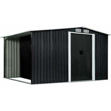 Gerätehaus mit Schiebetüren Anthrazit 329,5×131×178 cm Stahl