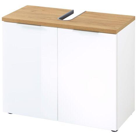 "main image of ""Germania Bathroom Basin Cabinet GW-Pescara White Navarra Oak Repro - White"""