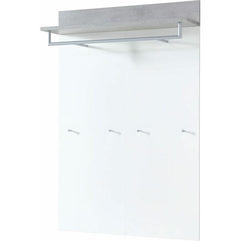 Image of Coat Rack Panel Topix 96x29x147 cm White and Concrete - White - Germania