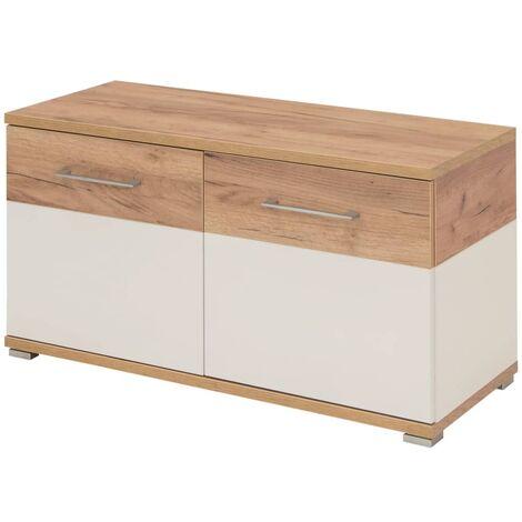 Germania Mueble zapatero Topix color blanco y hormigón 96x40x50,4 cm