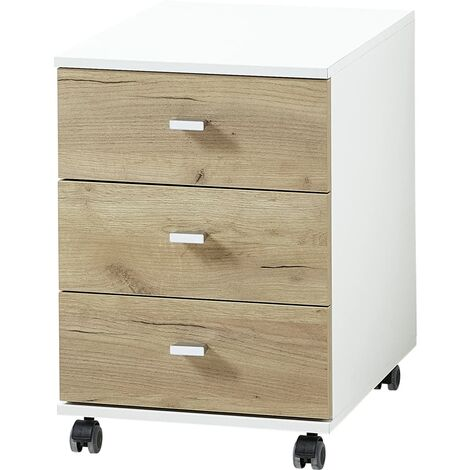 Germania Rolling Filing Cabinet Altino 40x48.9x56.9 cm Navarra-oak and White