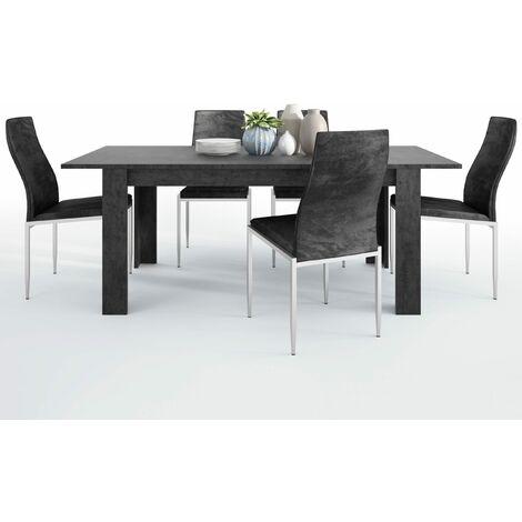 Gerzing Dining set package Gerzing Dining table + 6 Lillie High Back Chair Black.