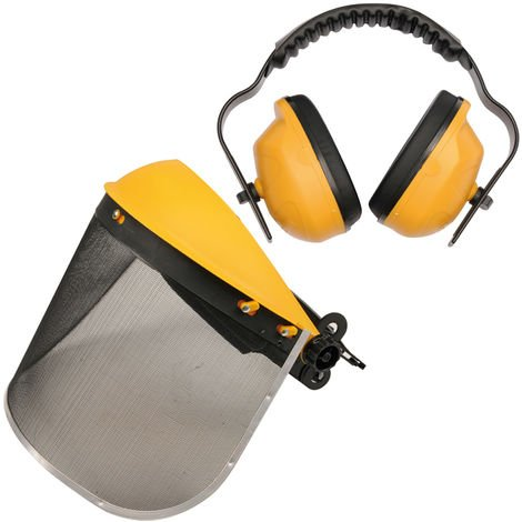 Gesichtsschutz Gehörschutz Maschenvisier Gehörschutzkombi 27dB