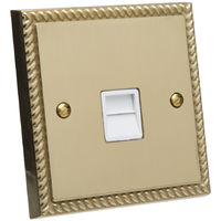 GET Single Wall Mounted Telephone and Internet Wall Extension Socket With White Inserts - Georgian Brass