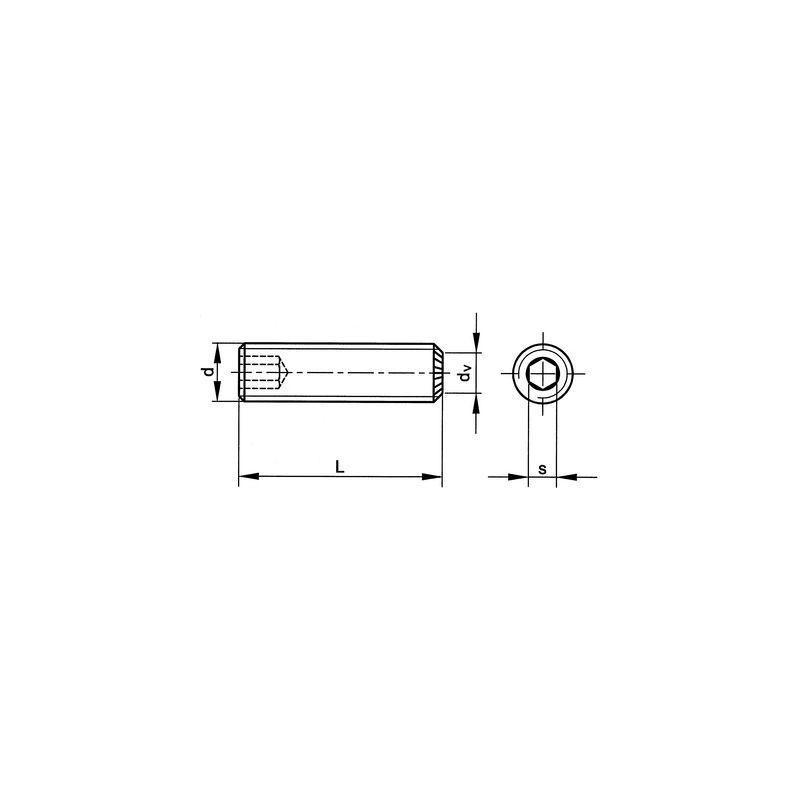 Gewindestifte M6 x 6 Stahl 45H DIN 916 Innensechskant mit Ringschneide 200 Stk