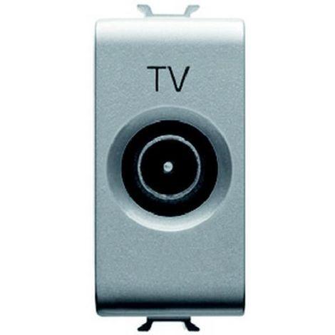 Gewiss GW14364 - Koaxial-TV-Buchse Chorus geschirmt, Klasse A - IEC-Stecker 9,5 mm - 14 dB Dämpfung - Titan