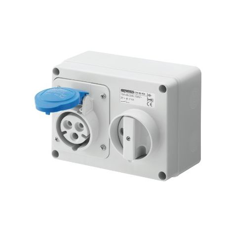 Gewiss GW66004 Fixed Interlocked Horizontal Socket-Outlet - With Bottom - Without Fuse-Holder Base - 2P+E 16A 200-250V - 50/60HZ 6H - IP44