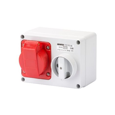 Gewiss GW66009 Fixed Interlocked Horizontal Socket-Outlet - With Bottom - Without Fuse-Holder Base - 3P+N+E 16A 346-415V - 50/60HZ 6H - IP44