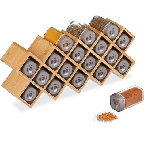Gewürzregal mit 18 Gewürzstreuern, Bambus, Glas, Küchenorganizer Gewürze, stehend, HBT 18 x 44 x 9,5 cm, natur