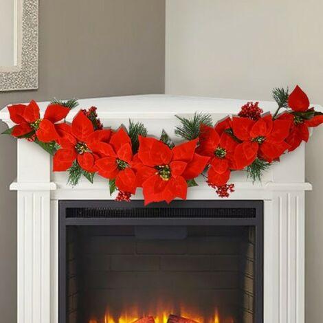 Immagini Decorazioni Di Natale.Ghirlanda Natalizia Con Stella Di Natale 7 Fiori 84cm Decorazioni Natalizie Casa