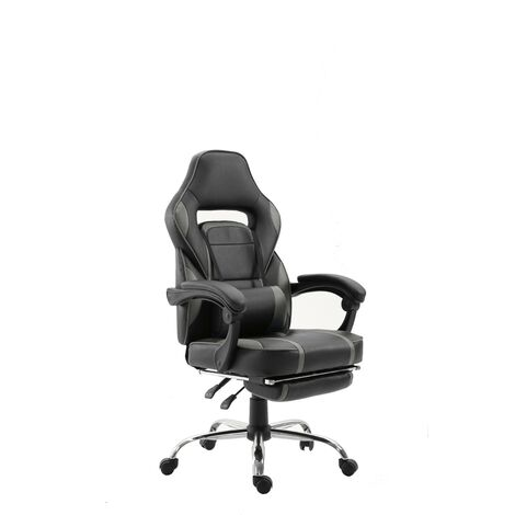 GHOST - GAMER reclining desk chair with footrest - Grey - Grey