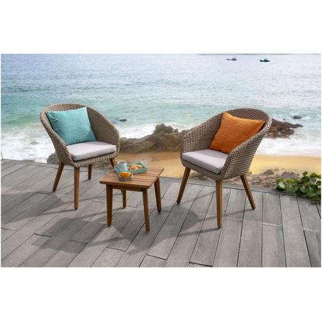 GIA Salon de jardin en bois d\'acacia et en résine tressée 2 places - deux  fauteuils et une table basse