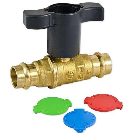 Giacomini Press-Kugelhahn für Kupfer und Edelstahl - 15 mm x 15 mm - voller Durchgang