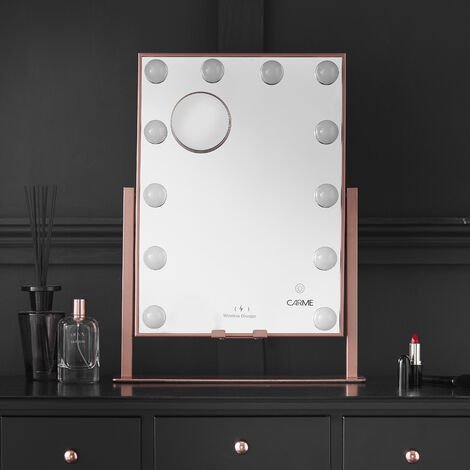 Gianna Desktop Mirror with Hollywood Bulbs 3 Colour Light Touch Sensor Wireless Charger and Magnifying Mirror Vanity Makeup Rosegold