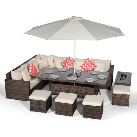 Giardino Havana 10 Seat Brown Rattan Corner Sofa Dining Set w/ 2 x 1m Drinks Cooler Rattan Dining Table, 4 Stools, Ice bucket Coffee Table, Parasol & Outdoor Furniture Covers | Rattan Garden Furniture