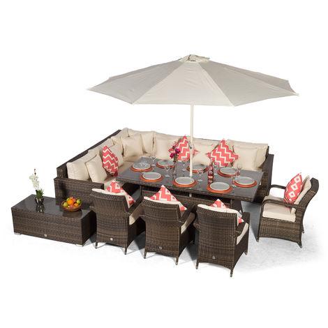 Giardino Havana 10 Seat Brown Rattan Corner Sofa Dining Set w/ 200x100cm Rattan Dining Table, 4 Rattan Chairs, Coffee Table, Parasol & Outdoor Furniture Covers | Rattan Dining Garden Furniture