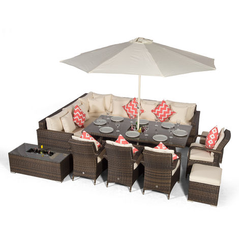 Giardino Havana 10 Seat Brown Rattan Corner Sofa Dining Set w/Drinks Coolers | w/ 2 x 1m Rattan Dining Table, 4 Dining Chairs, 2 Stools, Coffee Table, Parasol & Outdoor Rattan Furniture Covers