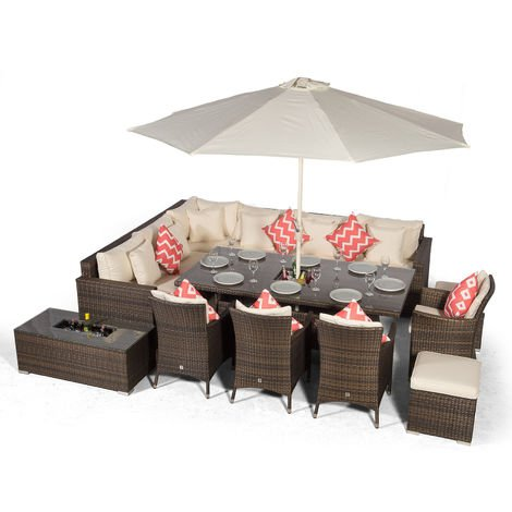 Giardino Havana 10 Seat Brown Rattan Corner Sofa Dining Set w/Drinks Coolers | w/ 2 x 1m Rattan Dining Table, 4 Rattan Dining Chairs, 2 Stools, Coffee Table, Parasol & Outdoor Rattan Furniture Covers