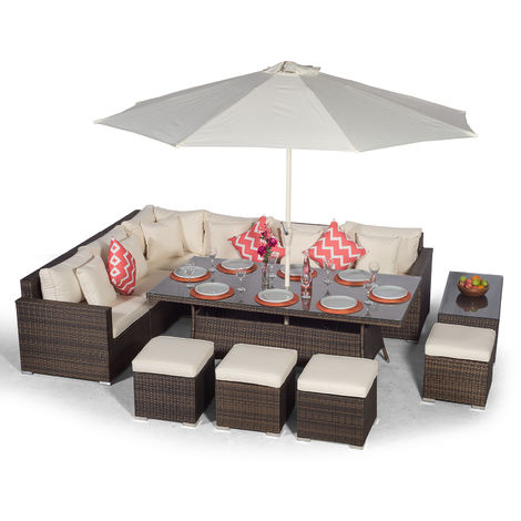 Giardino Havana 10 Seat Brown Rattan Corner Sofa Dining Set with 200x100cm Rattan Dining Table, 4 Stools, Large Coffee Table, Parasol & Outdoor Furniture Covers | Poly Rattan Dining Garden Furniture
