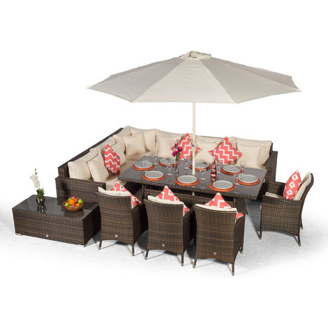 Giardino Havana 10 Seat Brown Rattan Corner Sofa Dining Set with 2x1m Rattan Dining Table, 4 Rattan Dining Chairs, Coffee Table, Parasol & Outdoor Furniture Covers | Rattan Dining Garden Furniture