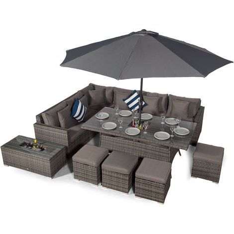 Giardino Havana 10 Seat Grey Rattan Corner Sofa Dining Set w/ 2 x 1m Drinks Cooler Rattan Dining Table, 4 Stools, Ice bucket Coffee Table, Parasol & Outdoor Furniture Covers | Rattan Garden Furniture