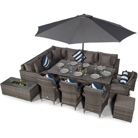 Giardino Havana 10 Seat Grey Rattan Corner Sofa Dining Set w/Drinks Coolers | w/ 2 x 1m Rattan Dining Table, 4 Dining Chairs, 2 Stools, Coffee Table, Parasol & Outdoor Rattan Furniture Covers