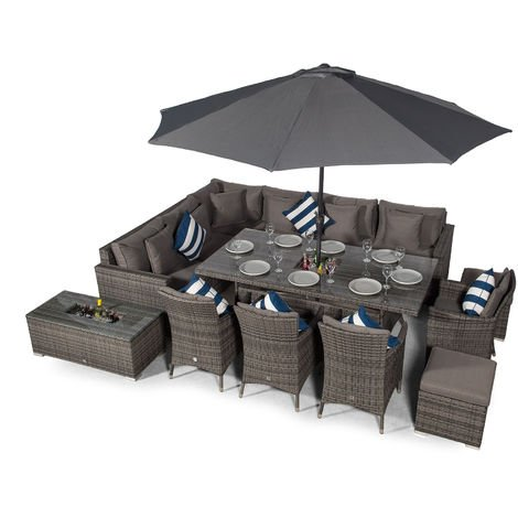 Giardino Havana 10 Seat Grey Rattan Corner Sofa Dining Set w/Drinks Coolers | w/ 2 x 1m Rattan Dining Table, 4 Rattan Dining Chairs, 2 Stools, Coffee Table, Parasol & Outdoor Rattan Furniture Covers