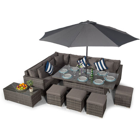 Giardino Havana 10 Seat Grey Rattan Corner Sofa Dining Set with 200x100cm Rattan Dining Table, 4 Stools, Large Coffee Table, Parasol & Outdoor Furniture Covers | Poly Rattan Dining Garden Furniture