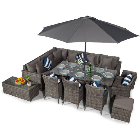 Giardino Havana 10 Seat Grey Rattan Corner Sofa Dining Set with 2x1m Rattan Dining Table, 4 Rattan Dining Chairs, Coffee Table, Parasol & Outdoor Furniture Covers | Rattan Dining Garden Furniture