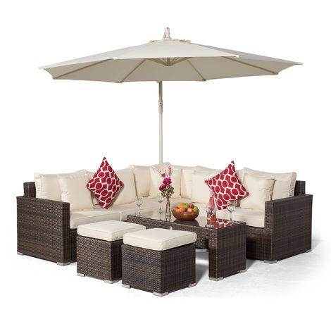 Giardino Havana 5 Seat Brown Rattan Corner Sofa Set + 2 Stool Coffee Table + Parasol + Outdoor Furniture Cover | L Shaped Outdoor Corner Sofa | 9 pcs Patio Poly Rattan Garden Sofa Set with Sun Lounger