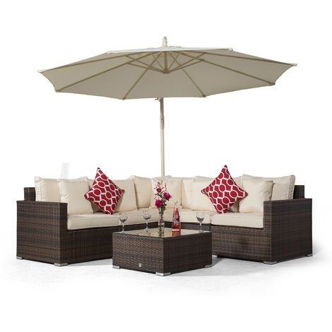 Giardino Havana 5 Seat Brown Rattan Corner Sofa Set + Coffee Table + 3m Parasol + Outdoor Furniture Covers | 7 piece L Shaped Poly Rattan Garden Sofa Set | Patio Outdoor Corner Sofa with Sun Loungers