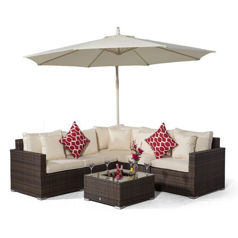 Giardino Havana 5 Seat Brown Rattan Corner Sofa Set + Drinks Cooler Coffee Table, Parasol & Outdoor Furniture Covers | 7 pcs L Shaped Poly Rattan Garden Sofa Set | Outdoor Corner Sofa with Sun Lounger