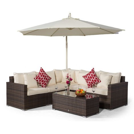 Giardino Havana 5 Seat Brown Rattan Corner Sofa Set + Large Coffee Table + Parasol + Outdoor Furniture Cover | L Shaped Outdoor Corner Sofa | 7 piece Patio Poly Rattan Garden Sofa Set with Sun Lounger