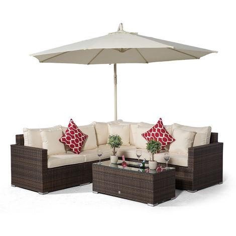 Giardino Havana 5 Seat Brown Rattan Corner Sofa Set + Large Ice Cooler Table, Parasol + Outdoor Furniture Cover | L Shaped Outdoor Corner Sofa | 7 pc Patio Poly Rattan Garden Sofa Set with Sun Lounger