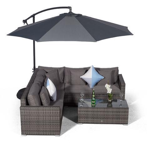 Giardino Havana 5 Seat Grey Rattan Corner Sofa Set + Large Coffee Table + Parasol + Outdoor Furniture Cover | L Shaped Outdoor Corner Sofa | 7 piece Patio Poly Rattan Garden Sofa Set with Sun Lounger