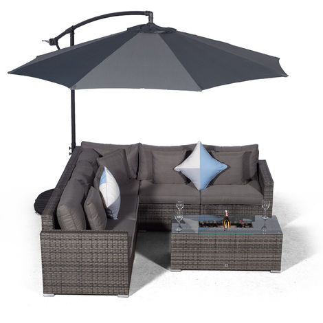 Giardino Havana 5 Seat Grey Rattan Corner Sofa Set + Large Ice Cooler Table, Parasol + Outdoor Furniture Cover | L Shaped Outdoor Corner Sofa | 7 pc Patio Poly Rattan Garden Sofa Set with Sun Lounger