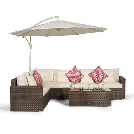 Giardino Havana 6 Seater Brown Rattan Corner Sofa Set + Ice Cooler Coffee Table, Parasol + Sun Lounger & Outdoor Furniture Cover | L Shaped Outdoor Corner Sofa | 8 pc Patio Poly Rattan Garden Sofa Set