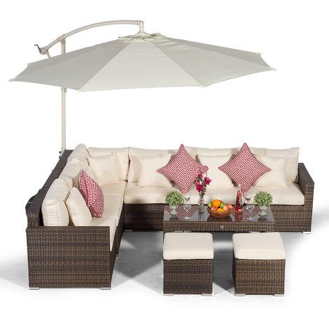 Giardino Havana 6 Seater Brown Rattan Corner Sofa Set with 2 Stool Coffee Table + Parasol + Lounger & Outdoor Furniture Cover | L Shaped Outdoor Corner Sofa | 10 pcs Patio Poly Rattan Garden Sofa Set