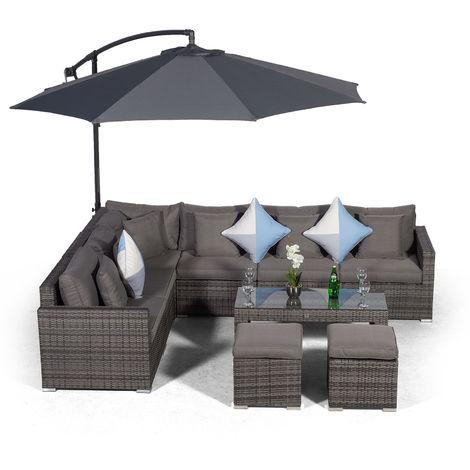 Giardino Havana 6 Seater Grey Rattan Corner Sofa Set with 2 Stool Coffee Table + Parasol + Lounger & Outdoor Furniture Cover | L Shaped Outdoor Corner Sofa | 10 pcs Patio Poly Rattan Garden Sofa Set
