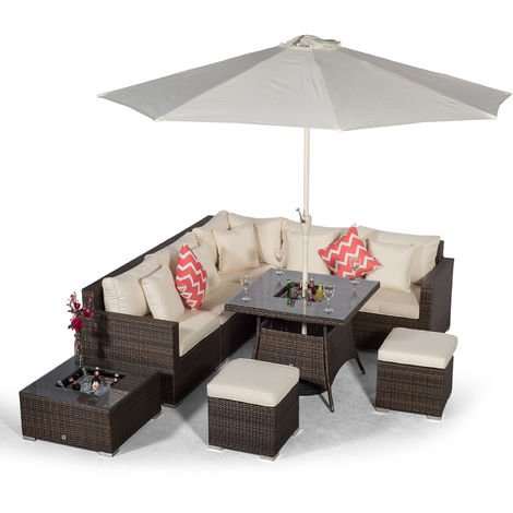 Giardino Havana 7 Seat Brown Rattan Corner Sofa Dining Set w/ 90x90cm Drinks Cooler Rattan Dining Table, 2 Stools, Ice bucket Coffee Table, Parasol & Outdoor Furniture Covers | Rattan Garden Furniture