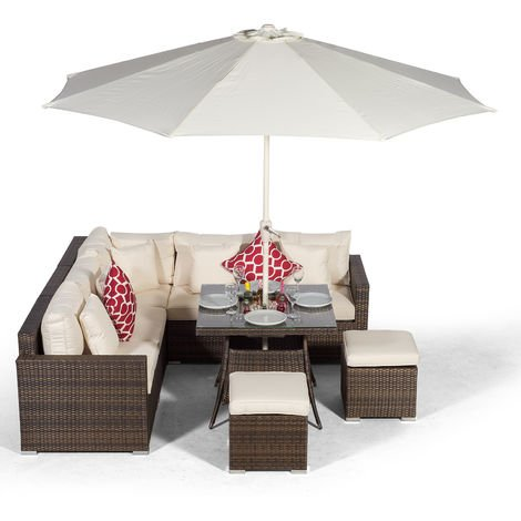 Giardino Havana 7 Seat Brown Rattan Corner Sofa Dining Set w/ 90x90cm Drinks Cooler Rattan Dining Table, 2 Stools, Parasol & Outdoor Furniture Covers | Poly Rattan Garden Furniture