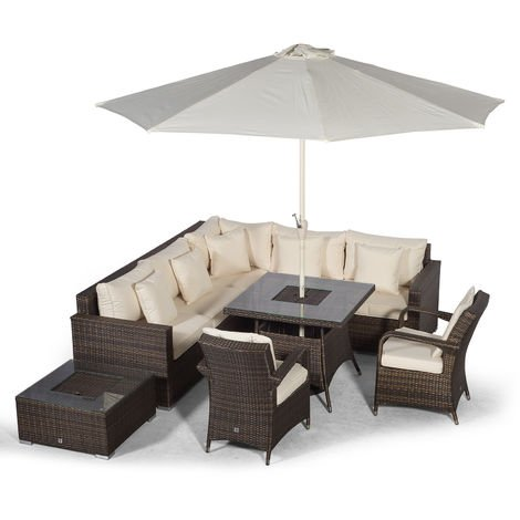 Giardino Havana 7 Seat Brown Rattan Corner Sofa Dining Set w/Drinks Coolers | w/ 90x90cm Rattan Dining Table, 2 Rattan Chairs, Ice Bucket Coffee Table, Parasol & Outdoor Rattan Furniture Cover