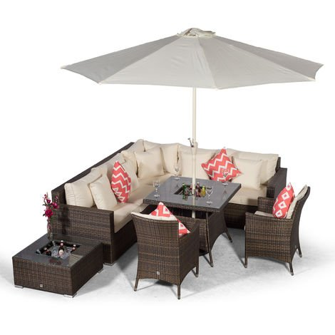 Giardino Havana 7 Seat Brown Rattan Corner Sofa Dining Set w/Drinks Coolers | w/ 90x90cm Rattan Dining Table, 2 Rattan Dining Chairs, Ice Bucket Coffee Table, Parasol & Outdoor Rattan Furniture Cover