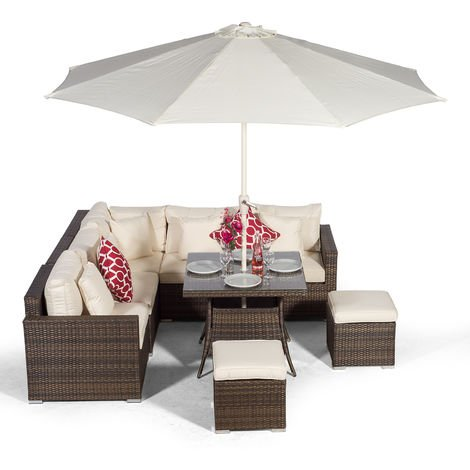 Giardino Havana 7 Seat Brown Rattan Corner Sofa Dining Set with 90 x 90cm Rattan Dining Table, 2 Stools, Parasol & Outdoor Furniture Covers | Poly Rattan Garden Dining Set | Garden Rattan Furniture