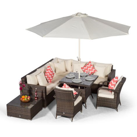 Giardino Havana 7 Seat Brown Rattan Corner Sofa Dining Set with 90x90cm Rattan Dining Table, 2 Rattan Chairs, Coffee Table, Parasol & Outdoor Furniture Covers | Poly Rattan Garden Furniture