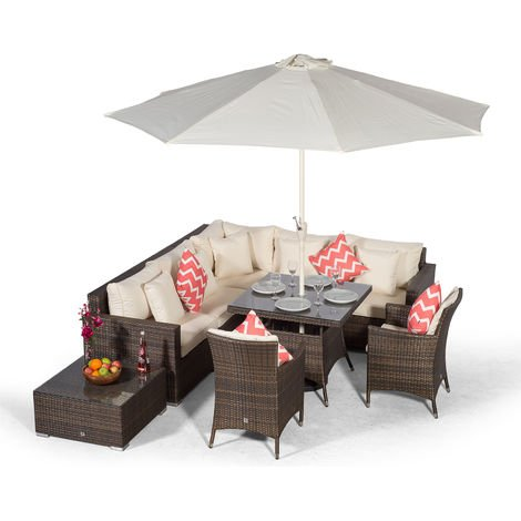 Giardino Havana 7 Seat Brown Rattan Corner Sofa Dining Set with 90x90cm Rattan Dining Table, 2 Rattan Dining Chairs, Coffee Table, Parasol & Outdoor Furniture Covers | Rattan Garden Dining Furniture