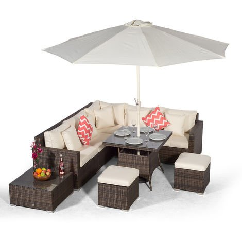 Giardino Havana 7 Seat Brown Rattan Corner Sofa Dining Set with 90x90cm Rattan Dining Table, 2 Stools, Coffee Table, Parasol & Outdoor Furniture Covers | Poly Rattan Dining Garden Furniture