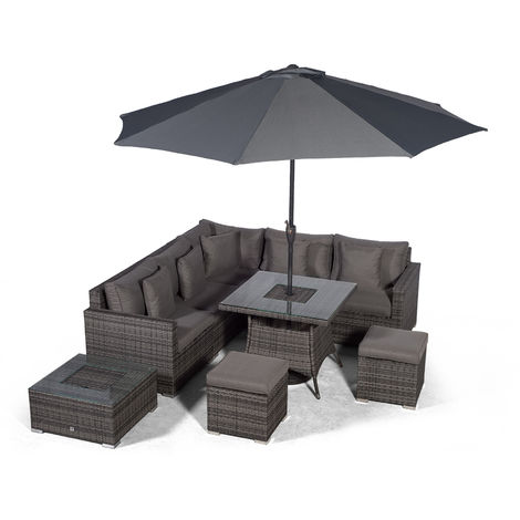 Giardino Havana 7 Seat Grey Rattan Corner Sofa Dining Set w/ 90x90cm Drinks Cooler Rattan Dining Table, 2 Stools, Ice bucket Coffee Table, Parasol & Outdoor Furniture Covers | Rattan Garden Furniture